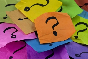 Question Marks on Coloured Paper